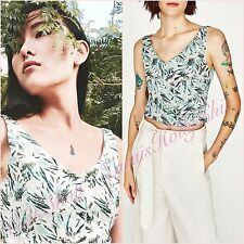 Zara Green Floral Shimmery Jacquard Crop V Neck Top Size M UK 10 US 6 Blogger ❤