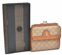 Authentic FENDI CELINE Pequin Macadam Pattern PVC Leather Wallet 2Set A2688