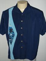 Vintage Presence Retro Aloha Tiki Lounge Blue Hawaiian Shirt Men Large