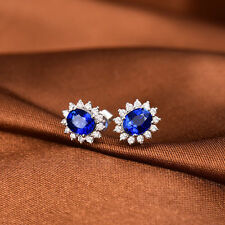 18ct White Gold Diamond Studs Earrings with Natural Sapphire GBP £6500