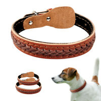 Braided Genuine Leather Pet Dog Collars for Medium Large Breeds Adjustable