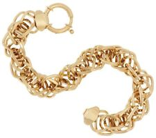 "7 1/2"" Twisted Singapore Interlocking Dimensional Bracelet Real 14K Yellow Gold"