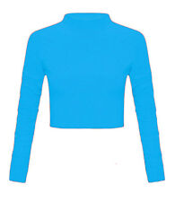 Ladies Womens Polo High Neck Long Sleeve Plain  Crop Top Stretchy T-Shirt 8-14