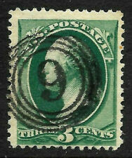 "Fancy Cancel ""Number 9"" SON 3 Cent Green Washington Banknote 1871-83 US 13B61"
