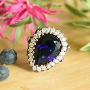Hurrem Sultan 925 Sterling Silver Rings Blue Jade (Lab created) & CZ Size 7.75