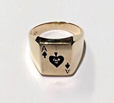 Vintage 14k YG Ace of Spades Black Enamel Men's Solid Signet Ring Size 9 3/4