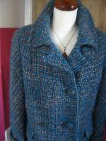 Ladies vintage WINDSMOOR wool TWEED COAT UK 16 14 teal blue boho hippy retro