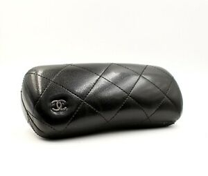 Chanel Eyeglasses Glasses Hard Case Quilted Leather Extra Small 6 X 2.75 X 1.75