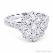 1.27 ct Round Cut Diamond Pave Right-Hand Flower Fashion Ring in 18k White Gold