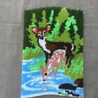 """Vintage Latch Hook Deer and Fawn Wall Hanging Rug 24""""x33"""""""