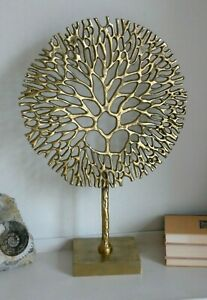 Large Metal Tree Of Life -Coral Sculpture On Stand - Gold Tone - 53cm