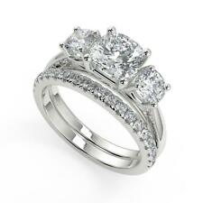 2.45 Ct Cushion Cut 3 Stone Solitaire Diamond Engagement Ring Set SI1 F 18k
