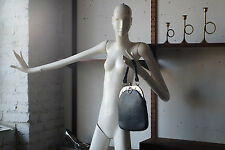 Damen Handtasche Leder Tasche black real leather 60er True VINTAGE 60s twiggy