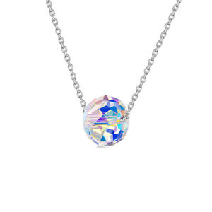 Sterling Silver Aurora Borealis Disco Ball Necklace Made with Swarovski Elements