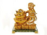 Golden Monkey Statue with Feng Shui Ingot