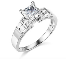 2.50 Ct Princess Baguette Cut Engagement Wedding Ring Real Solid 14K White Gold