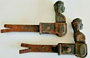 Pair Set Antique French Shutter Hold Back Cast Iron Shutter Dogs