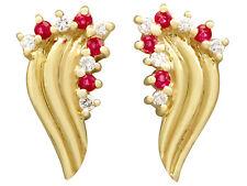 Vintage 0.12 ct Ruby 0.10 ct Diamond 18Carat Yellow Gold Stud Earrings