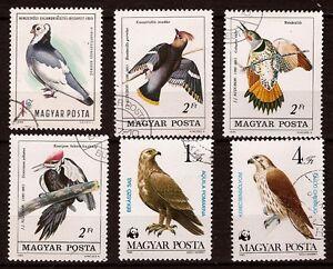 39 T2 HONGRIE Serie de 6 timbres obliteres  oiseaux  commun et rapaces