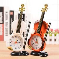 Vintage Unique Violin Alarm Clock Desk Table Watch Timer Office Home Art Decor