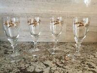 "VTG Set of 4 Gold Wheat Sheaves Cordial Glasses, 6"", Mid Century"
