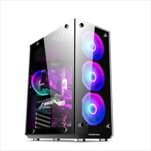 Cheap Gaming Computer Case, Mid ATX Gaming Case 6x 12cm ARGB Fans Tempered Glass
