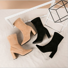 NEW LADIES WOMENS SOCK PULL ON STRETCH ANKLE HIGH BOOTS HIGH HEELS POINTED SHOES