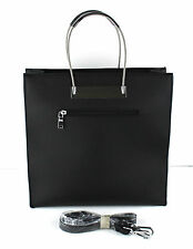 Modern Black Handbag Bag Purse Tote Satchel Shoulder Strap w Metal Wire Handle