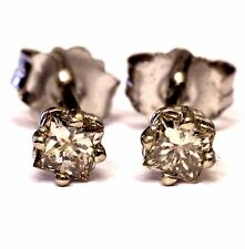 New 14k white gold .26ct princess diamond SI2 K stud earrings .5g fashion womens