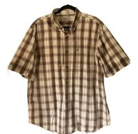 Carhartt Mens Relaxed Fit Plaid Short Sleeve Button Down Shirt Size Large