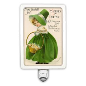 St. Patrick's Day Vintage Postcard Little Girl with Green Shamrocks Night Light