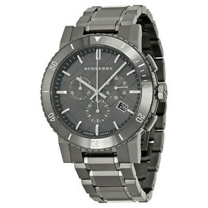 New Burberry Chronograph Gunmetal Dial Grey Stainless Men's Watch BU9381