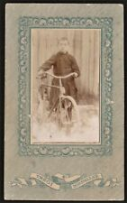 CDV PHOTO VERY ANTIQUE BICYCLE AND SMART LOOKING BOY EARLY MODEL