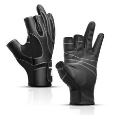 1 Pair Cut 3 Finger Anti-Slip Fingerless Fishing Gloves Leather Waterproof Glove
