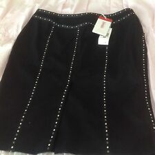 NWT Versace Jeans Couture Black Wool Pencil Skirt With Studs And Crystals. 40/26