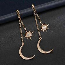 AU Seller Gold Plated Bling Rhinestone Crescent Moon Star Dangle Earrings Boho