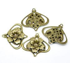 New 20 Bronze Filigree Flower Lantern Pendants Wraps Embellishments 5.5 x 5cm