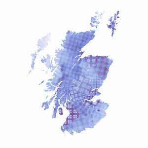 Scotland Tartan Map Blue Large Canvas Wall Art Print