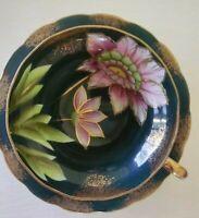 VTG Porcelain Teacup & Saucer. Floral Bright Lotus Flower. Gold Trim Splatter.