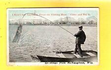 McNaughton,Oneida County,WI Wisconsin Exaggeration large fish on cane pole