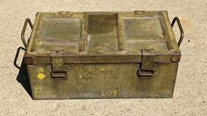 Vintage Army, Military explosives, land mine metal crate, Steel ammo box storage