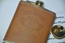24K Gold Plated hip flask light Brown Leather 7 oz Jack Daniels hip flask Funnel