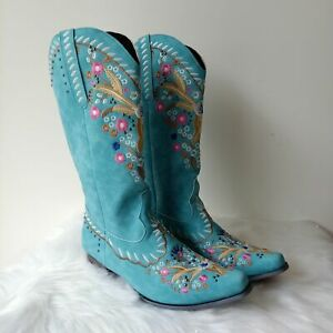 Ladies Retro Style Embroidered Pattern Pointed Toe Over-The-Knee High Heel Boots