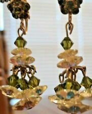 Vintage 1960's Costume Multi Colored Stones & Gold Tone Dangle Clip on Earrings