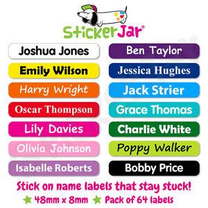 64 Personalised Stick On Name Labels Stickers School Kids Waterproof NL02