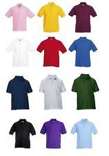 3 or 5 Pack Gildan Kids Dry Blend® Double Piqué Cuffed Sleeve Polo Shirt New Top