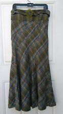 Anthropologie Elevenses Cute Maxi Skirt Rare Belted Plaid Wool 6 P