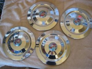 Triumph TR3 Chrome and Enamel early hubcaps set of four