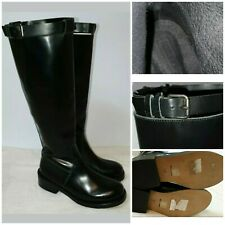 Topshop Knee High Wellies Welly Wellington Buckle Detail Side Zip Round Toe Boot