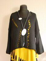 Moonshine Fashion° Lagenlook Kuschel Pullover Wolle A-Linie ~ Schwarz ~ one size